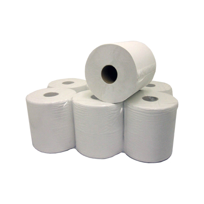 White 1-Ply Centrefeed 300m Rolls - Case of 6