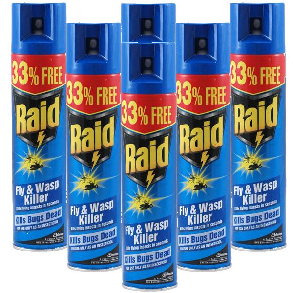 Raid Fly & Wasp Spray - 6 x 300ml