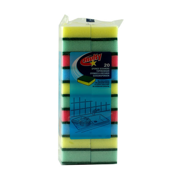 Mixed Colour Sponge Scourers - Pack of 10