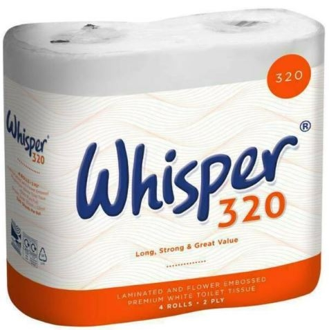 Whisper 320 Sheet 2-Ply Toilet Rolls - Case of 36-0