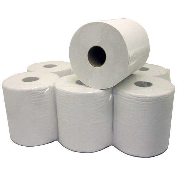 White 2-Ply Embossed Centrefeed 150m Rolls - Case of 6-0