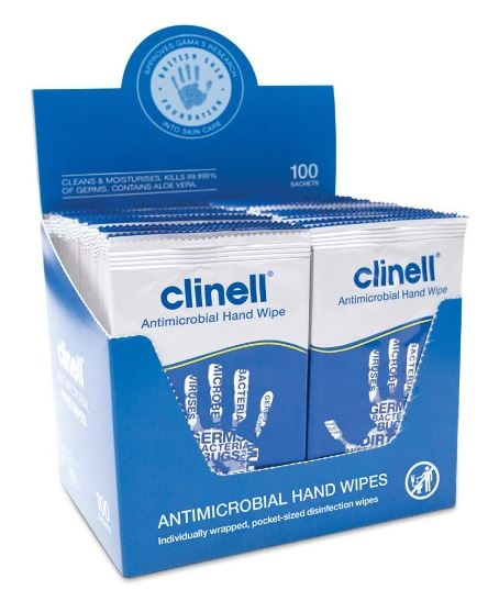 Clinell Antimicrobial Individual Hand Wipes - 100 Wipes-0